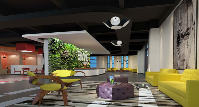 1500平方大型創意辦公室裝修設計案例