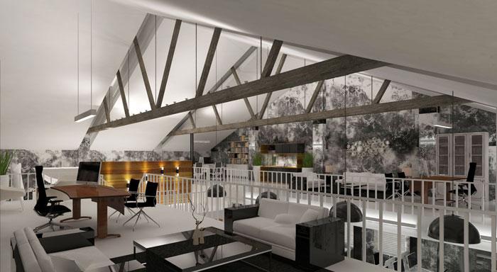 1000平方辦公室二樓區域軟裝設計方案效果圖